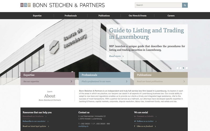 Best Law Firm Websites, Bonn Steichen & Partners