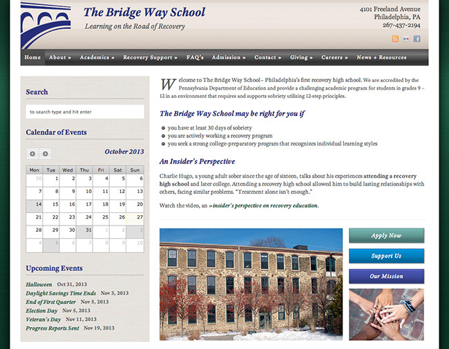 The Bridge Way School website homepage